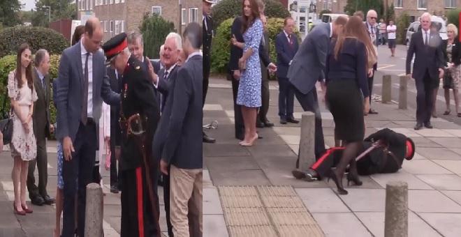 الأمير ويليام يسرع لمساعدة جندي مسن هوى على الأرض أثناء استقباله