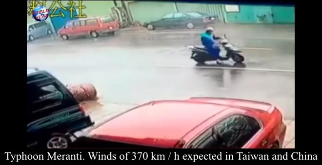بالفيديو.. إعصار ميرانتي يضرب التايوان ويتسبب بفيضانات كبيرة
