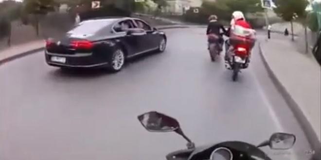 عصابة سيئة الحظ تتحرش بسيارة حرس أردوغان الشخصي شاهد ما الذي حدث؟