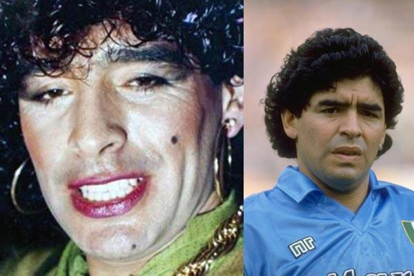 شبيهة مارادونا أسطورة كرة القدم