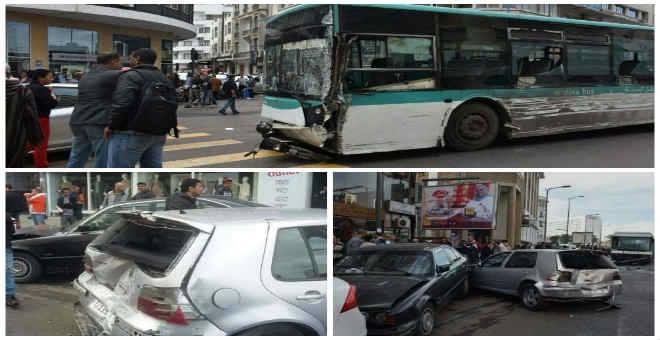 بالصور.. حافلة مجنونة تشل حركة السير وسط البيضاء