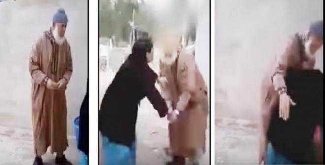 فيديو.. مسن حاول التحرش بسيدة فكان هذا جزاؤه