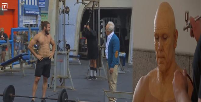 بالفيديو.. شاب متنكر بهيأت عجوز يقوم بإحراج رجال كمال الأجسام
