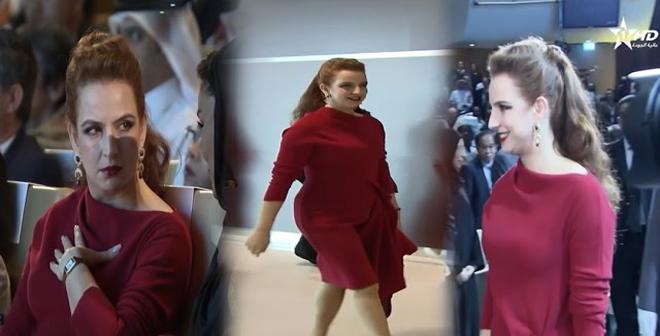 أناقة الأميرة للاسلمى بالأحمر في مؤتمر عالمي للصحة بالدوحة
