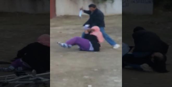 فيديو خطير .. محاولة قتل زوج لزوجته بسيدي قاسم