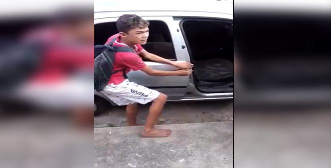 سارق بالبرازيل امسكوه متلبس يسرق من سيارتهم شاهد كيف عاقبوه!
