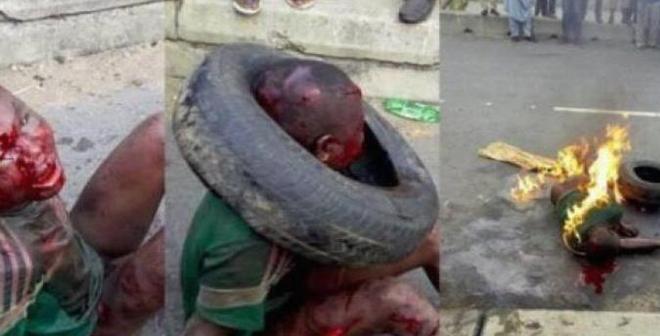 فيديو مرعب: حشد يعتدي على مراهق ويضرم النار في جسده بسبب السرقة في نيجيريا