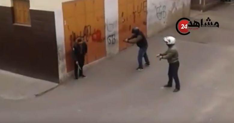 شاهد كيف استطاع رجال الأمن إيقاف مجرم خطير حمل السلاح في وجههم بالبيضاء