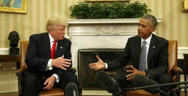 ترامب من البيت الأبيض: أنا متعجل للعمل مع أوباما في المستقبل
