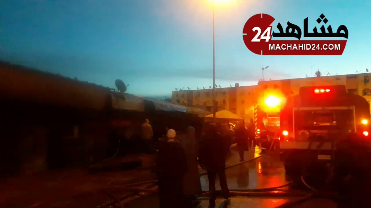 ألسنة النار تلتهم محلات قيسارية الحي المحمدي