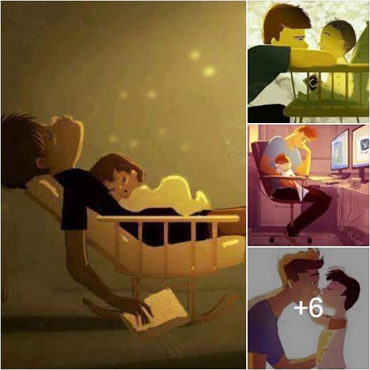 رسومات تعبر عن علاقة الأب بأطفاله
