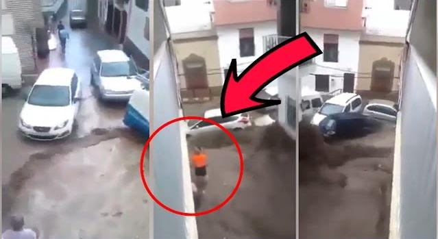 بالفيديو.. فيضانات مرعبة تجرف السيارات في مليلية