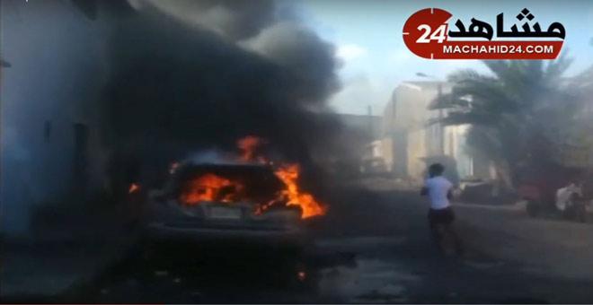 النيران تلتهم سيارة بالدار البيضاء