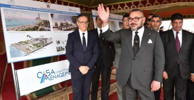 الملك محمد السادس يعطي انطلاقة أشغال تهيئة المنتزه البحري لمسجد الحسن الثاني