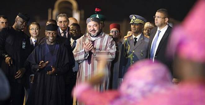 مراسم وصول الملك محمد السادس الى نيجيريا