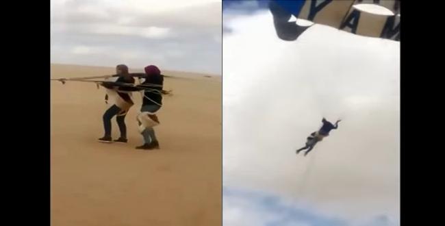فيديو.. تحليق طالبتين في مظلة انتهى إلى كارثة
