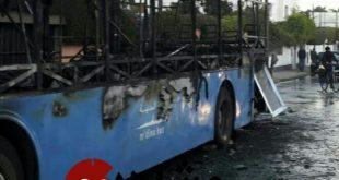 حريق بحافلة نقل المدينة