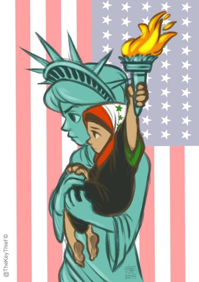 14 رساماً يواجهون قرار ترامب برسومات متعاطفة