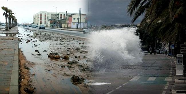فيديو.. أمواج عاتية تغمر سواحل سلا بالأتربة والأحجار