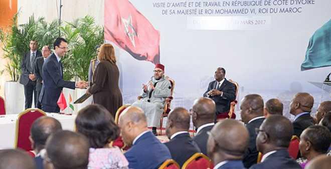 الملك والرئيس الإيفواري يترأسان أشغال مجموعة الدفع الاقتصادي كوت ديفوار - المغرب