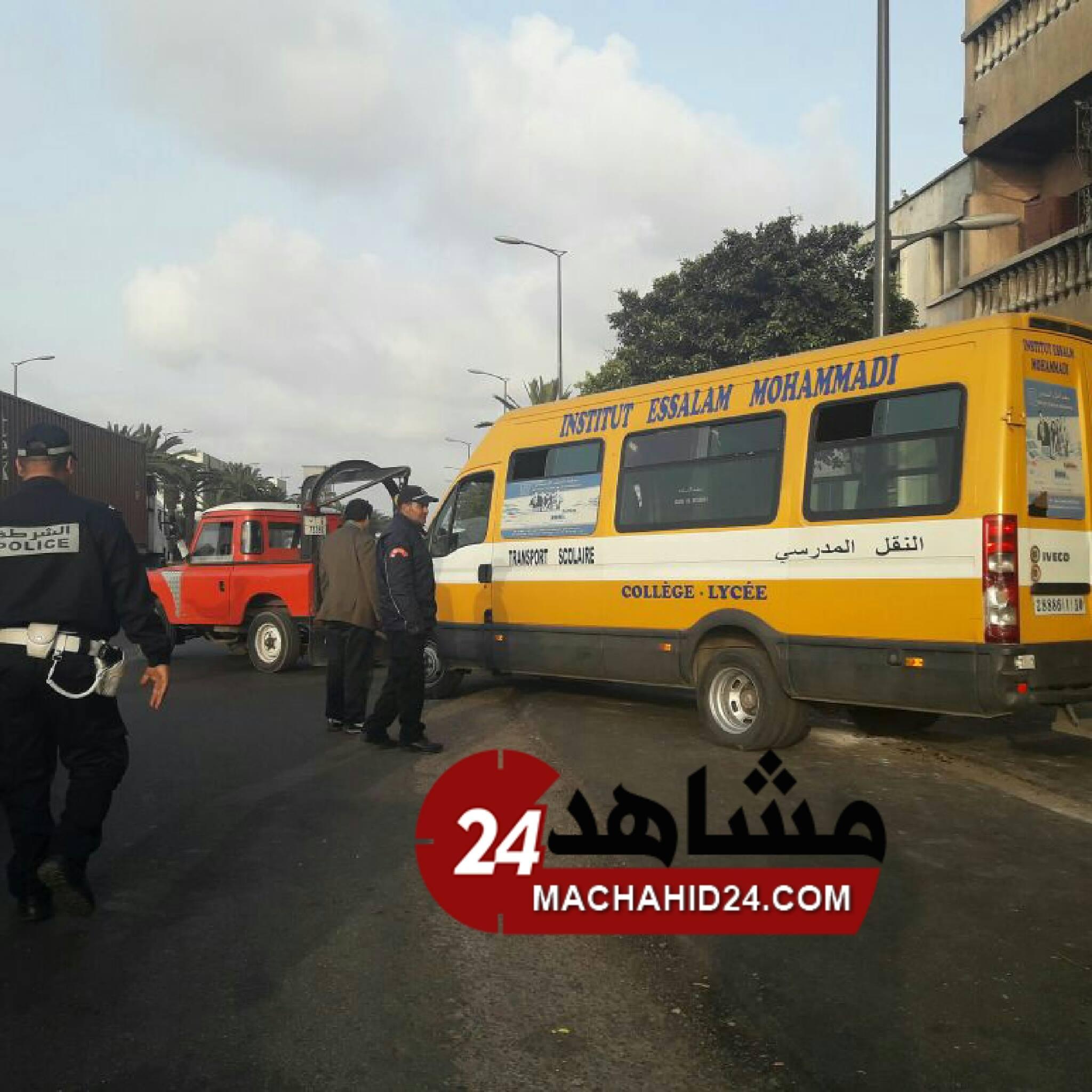 انفجار عجلة سيارة للنقل المدرسي يثير هلعا في صفوف التلاميذ