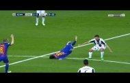 سقوط مرعب لـ ميسي في مباراة برشلونة ويوفنتوس