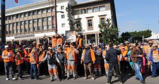 إضراب عمال النظافة بمدينة الدارالبيضاء