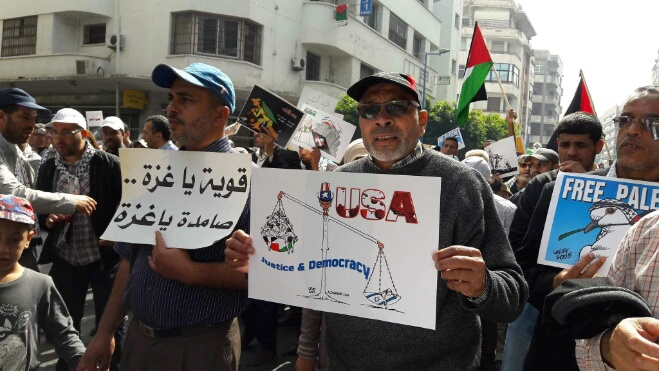 ''مسيرة فلسطين'' تشل حركة طرام البيضاء