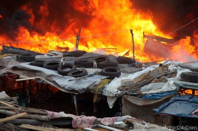 طنجة.. حريق مهول يلتهم 700 محل تجاري بسوق