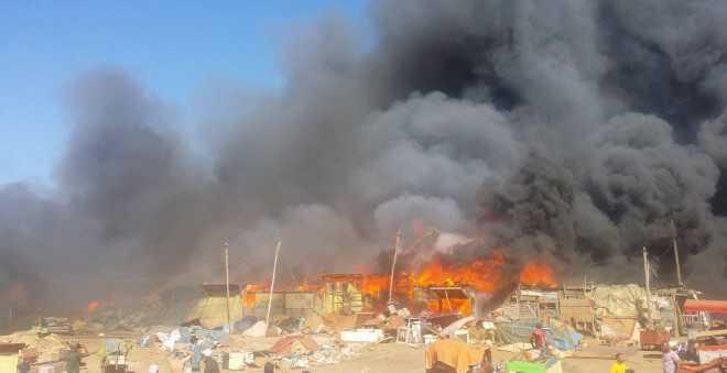 بالفيديو.. حريق مهول يلتهم سوق المتلاشيات بسلا