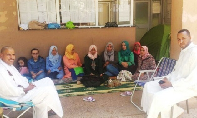 أستاذات بتيزنيت قضين عيد الأضحى أمام المديرية الإقليمية للتعليم