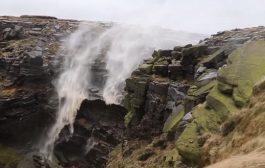 بالفيديو.. في ظاهرة غريبة شلال يتدفق صعودا