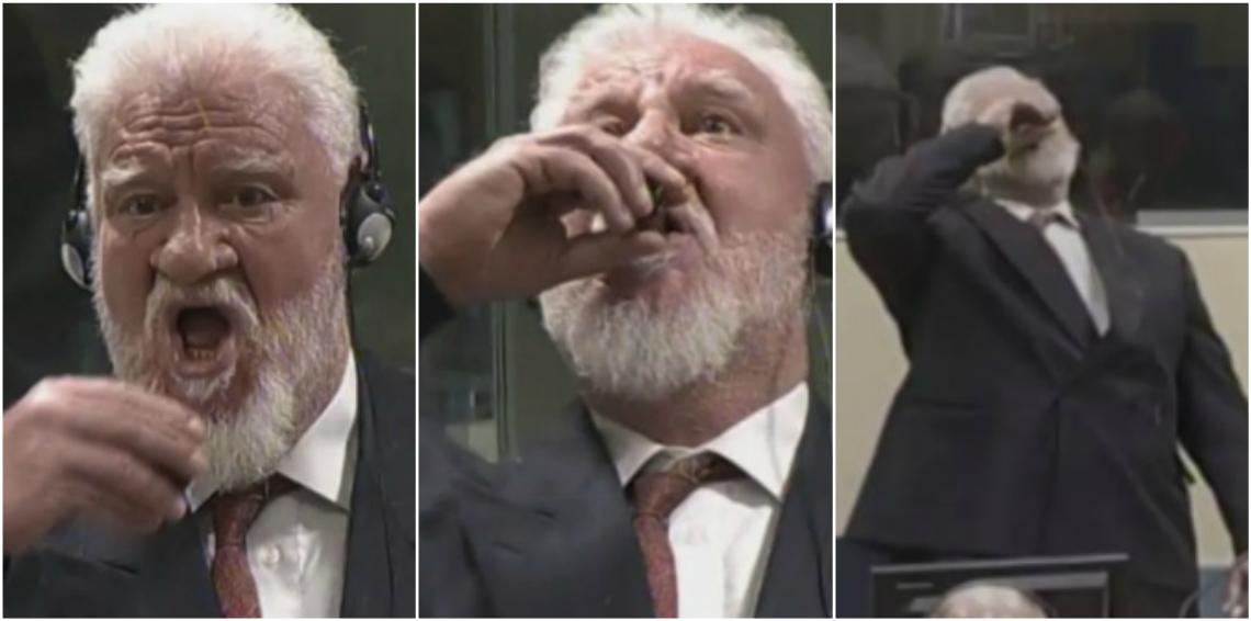 بالفيديو.. وفاة زعيم كروات البوسنة بعد تجرعه السم في المحكمة