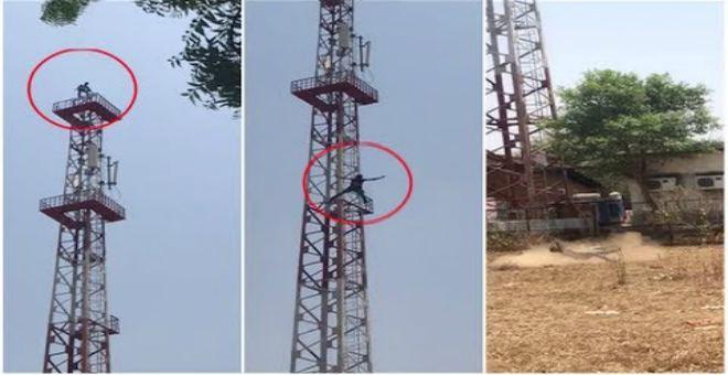 صادم.. شاهد لحظة قفز رجل من أعلى برج اتصالات