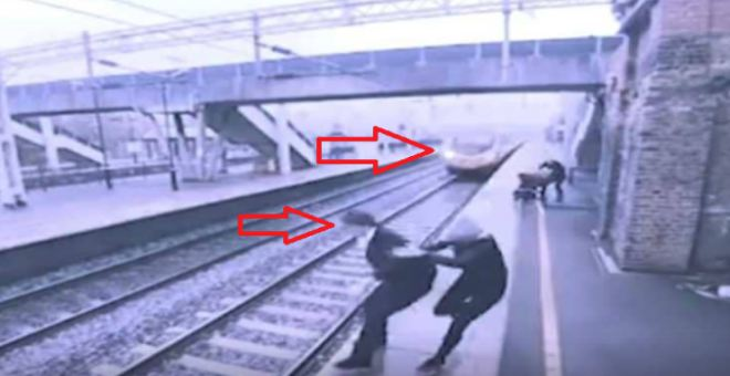 بالفيديو.. امرأة شجاعة تنقذ رجلا من