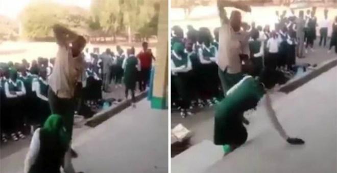 بالفيديو... الجلد عقوبة التأخر عن الطابور المدرسي