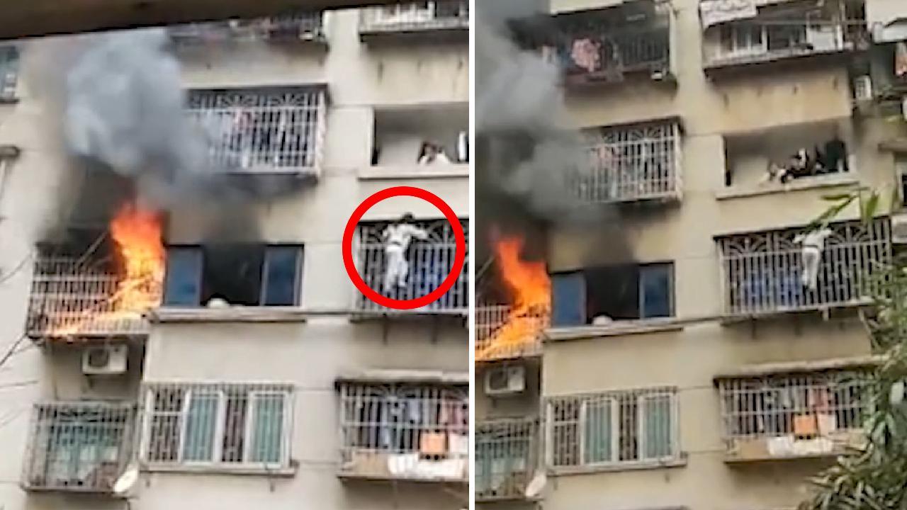 بالفيديو... فتاة تنجو من حريق في شقتها بطريقة مثيرة