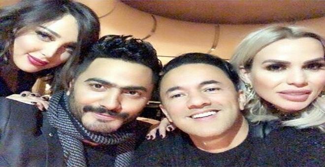 تامر حسني وريدوان يدعمان زوجتيهما في لندن