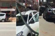 سقوط أعمدة إنارة على سيارات ومواطن بالقنيطرة