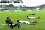 بالفيديو.. سبب غريب جدا يدفع لاعبي فريقين للانبطاح خلال مباراة لكرة القدم !