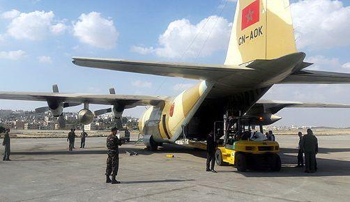 وصول شحنة جديدة من المساعدات المغربية الموجهة للفلسطينيين إلى الأردن