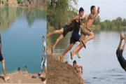 بسب الحرارة.. مواطنون يغامرون بحياتهم بالسباحة في الوديان
