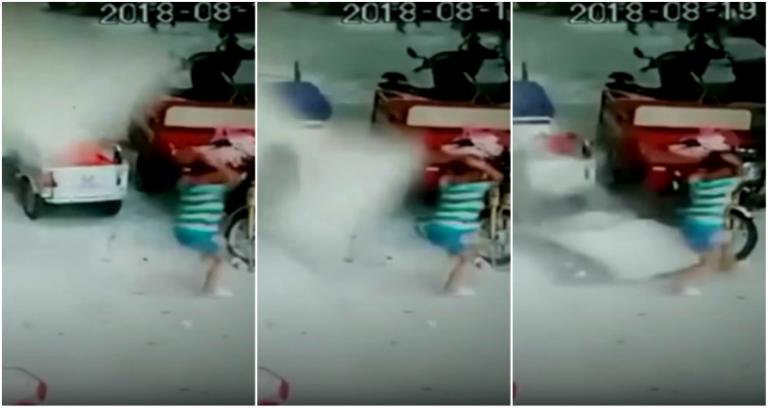 بالفيديو.. انهيار جدار مبنى في الشارع ونجاة طفل بأعجوبة