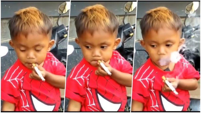 بالفيديو.. طفل السنتين والنصف يدخّن 40 سيجارة يوميا !