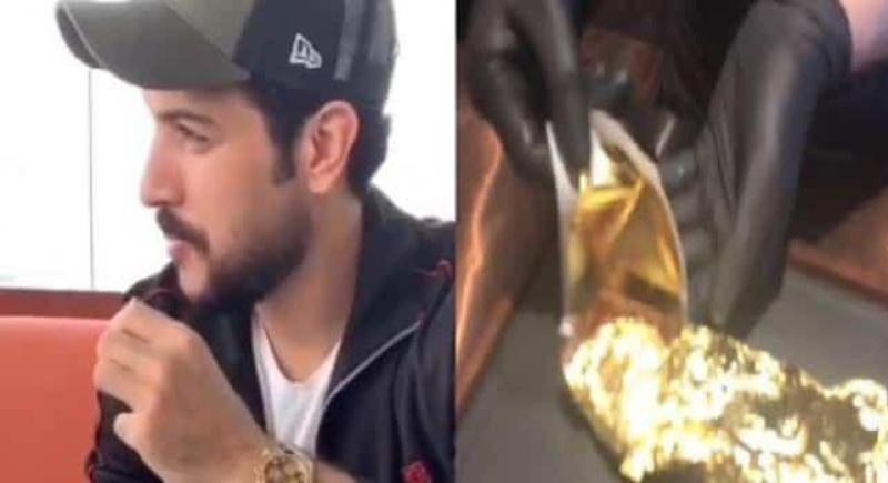 فنان كويتي يقوم بتناول طبق لحم مغطي بالذهب و يثير ضجة!