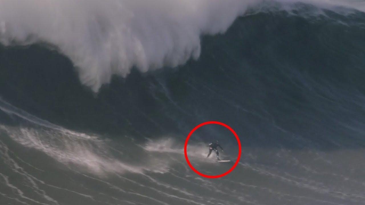 بالفيديو...راكب أمواج يتحدى موجة بارتفاع 20 مترا