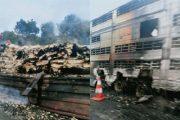 العرائش.. اصطدام بين 3 شاحنات يودي بحياة شخص حرقا