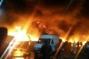 حريق سوق الجملة يأتي على دكاكين وشاحنات وسلع