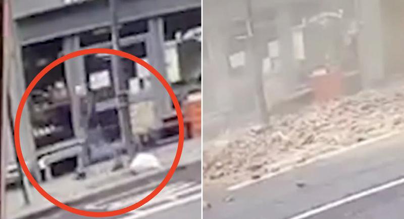 بالفيديو...نجاة رجل بأعجوبة بعد انهيار سقف مبنى