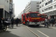 بالصور.. حريق مهول بأهم شوارع الرباط